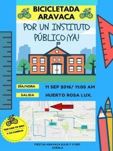 Fiestas de Aravaca 2016   Moncloa-Aravaca   Madrid   8 al 11 de septiembre de 2016   Bicicletada por un instituto público ¡ya!