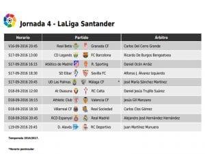Calendario de partidos | Jornada 4ª | LaLiga Santander | 16 al 19/09/2016
