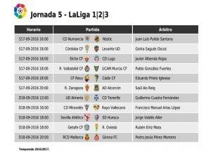 Calendario de partidos | Jornada 5ª | LaLiga 1|2|3 | 17 y 18/09/2016