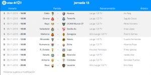 Calendario de partidos   Jornada 13ª   LaLiga 1 2 3   05 y 06/10/2016