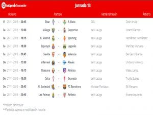 Calendario de partidos | Jornada 13ª | LaLiga Santander | 25 al 28/11/2016