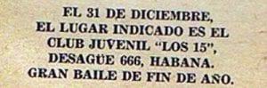 En esto llegó Fidel, se acabó la diversión | Publicidad de un bailable | 31 de diciembre de 1958 | La Habana - Cuba | 1958