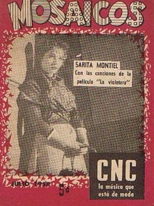 En esto llegó Fidel, se acabó la diversión | Sarita Montiel en portada del cancionero Mosaicos de julio 1958 | Cuba