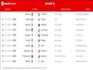 Calendario de partidos   Jornada 16ª   LaLiga Santander   16 al 19/12/2016