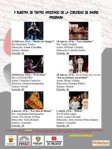 1ª Muestra de Teatro Aficionado de la Comunidad de Madrid   FETAM   Centro Cultural Viñagrande   Alcorcón   Febrero-Abril 2017   Programa