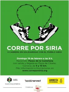 2ª Carrera Solidaria 'Corre Por Siria'   Paseo de la Castellana   Madrid   19/02/2017   AAPS-AER-AI   Cartel