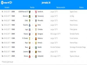 Calendario de partidos   Jornada 24ª   LaLiga 1 2 3   03 al 05/02/2017