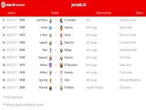 Calendario de partidos | Jornada 24ª | LaLiga Santander | 24 al 26/02/2017