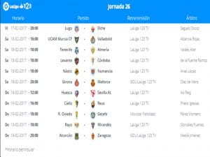 Calendario de partidos   Jornada 26ª   LaLiga 1 2 3   17 al 19/02/2017