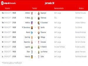 Calendario de partidos | Jornada 30ª | LaLiga Santander | 04 al 06/04/2017