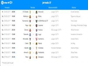 Calendario de partidos   Jornada 37ª   LaLiga 1 2 3   05 al 07/05/2017