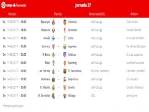 Calendario de partidos | Jornada 37ª | LaLiga Santander | 13 y 14/05/2017