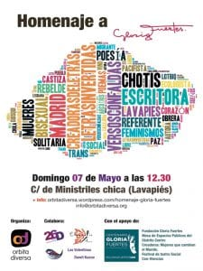 'Letras Invertidas, Versos con Faldas' | Homenaje LGTBIQ a Gloria Fuertes | Órbita Diversa | Lavapiés - Centro - Madrid | 07/05/2017 | Cartel