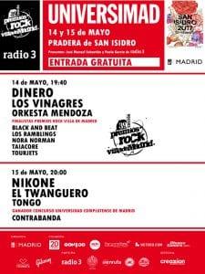 Universimad 39 Premios Rock Villa de Madrid   San Isidro 2017   Pradera de San Isidro   Carabanchel - Madrid   14-15/05/2017   Cartel