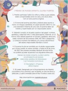 1 Premio de Poesía Infantil Gloria Fuertes | Hasta el 30 de junio de 2017 | Para niñas y niños de 6 a 12 años | Ayuntamiento de Madrid | Centenario Gloria Fuertes | Bases