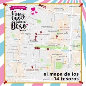 1ª Ruta Vino y Queso Sabe a Beso   Tetuán - Madrid   01/06 al 02/07/2017 Mapa de los 14 tesoros