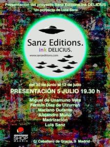 ink DELICIUS Sanz Editions   Exposición Colectiva   Montana Shop Madrid   05 - 12/07/2017   Cartel