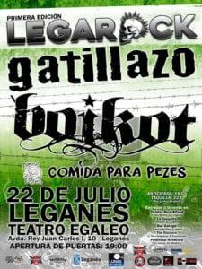 LegaRock 2017   Teatro Egaleo   Leganés   Comunidad de Madrid   22/07/2017   Gatillazo, Boikot y Comida para Pezes   Cartel