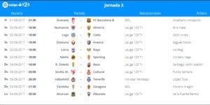 Calendario de partidos | LaLiga 1|2|3 | Jornada 3ª | 01 al 04/09/2017