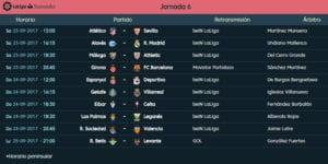 Calendario de partidos | LaLiga Santander | Jornada 6ª | 23 al 25/09/2017