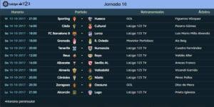 Calendario de partidos | LaLiga 1|2|3 | Jornada 10ª | Temporada 2017-2018 | 13 al 16/10/2017