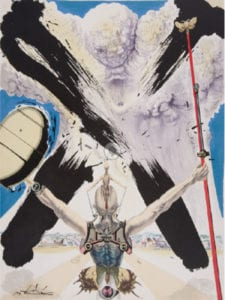 Salvador Dalí | Pages choisies de don Quichotte de la Manche | 12 litografías grabadas por Ballón, Delorme, Detruit, Guillard, Mourlat y Ravel | Imprenta Joseph Foret | París 1957