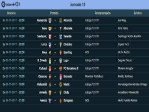 Calendario de partidos | LaLiga 1|2|3 | Jornada 13ª | Temporada 2017-2018 | 03 al 06/11/2017