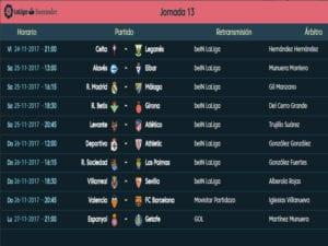 Calendario de partidos | LaLiga Santander | Jornada 13ª | Temporada 2017-2018 | 24 al 27/11/2017