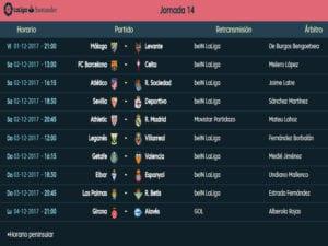 Calendario de partidos   LaLiga Santander   Jornada 14ª   Temporada 2017-2018   01 al 04/12/2017