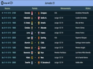 Calendario de partidos | LaLiga 1|2|3 | Jornada 23ª | Temporada 2017-2018 | 19 al 21/01/2018