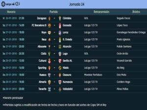 Calendario de partidos | LaLiga 1|2|3 | Jornada 24ª | Temporada 2017-2018 | 26 al 28/01/2018