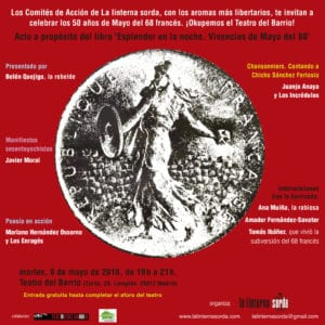 Celebración 50 años del Mayo del 68 francés   A propósito de 'Esplendor en la noche. Vivencias de Mayo del 68'   Teatro del Barrio   08/05/2018   Lavapiés   Madrid   Cartel