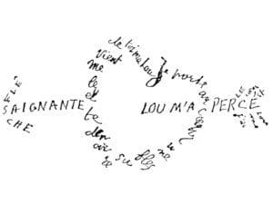 Día y Noche de los Libros 2019   Museos Comunidad de Madrid   Caligrama 'Saignante flèche'   Guillaume Apollinaire