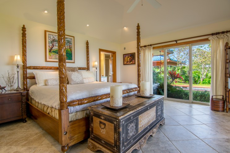 Master bedroom and pool view