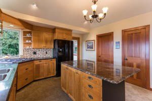 Kitchen features exotic wood
