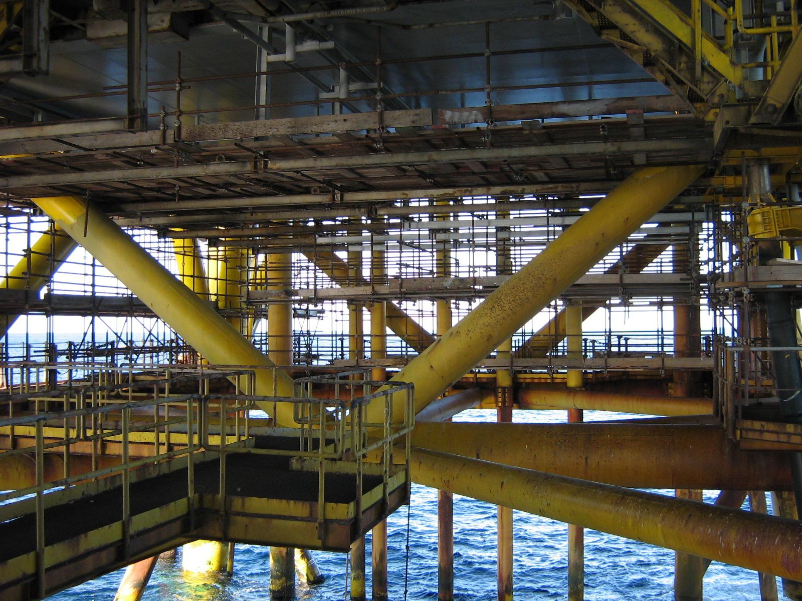 ponteggio a sbalzo sospeso a tubo e giunto piattaforma petrolifera vega