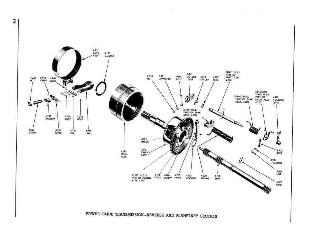 medium resolution of pontiac 1956 master parts catalog176 power glide transmission reverse and planetary section