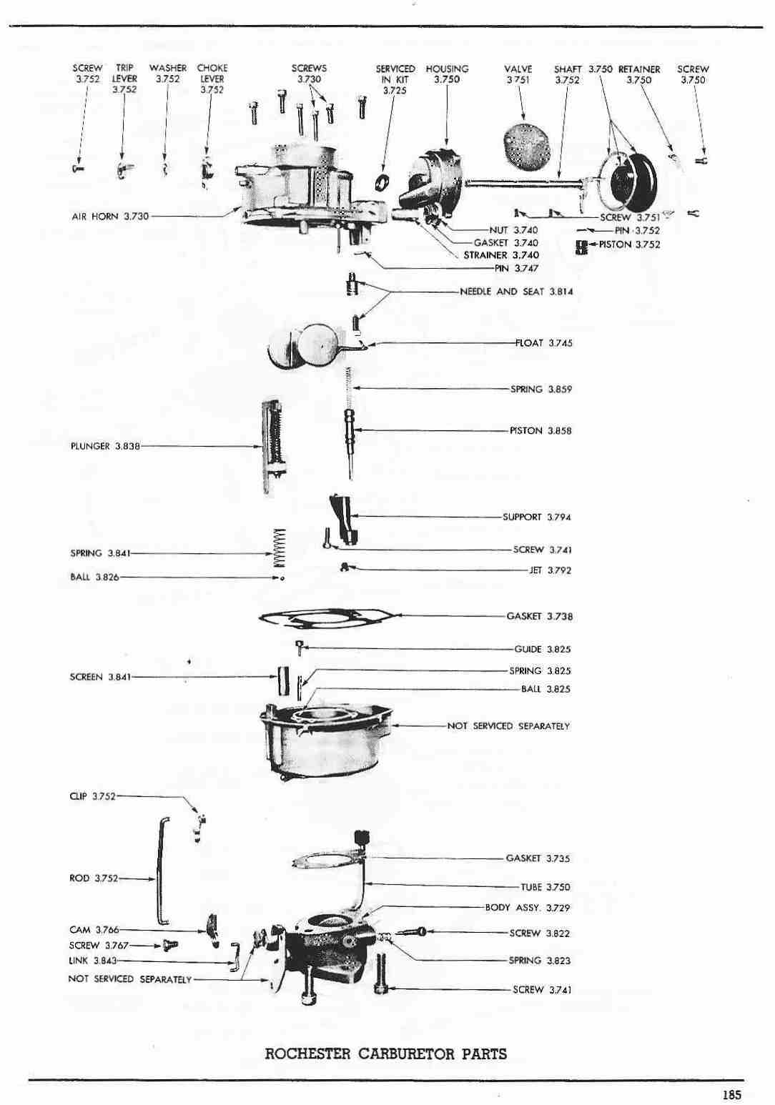 toyota engine parts diagram chevy sonic radio wiring pontiac 1960 master catalog 185 rochester carburetor one barrel
