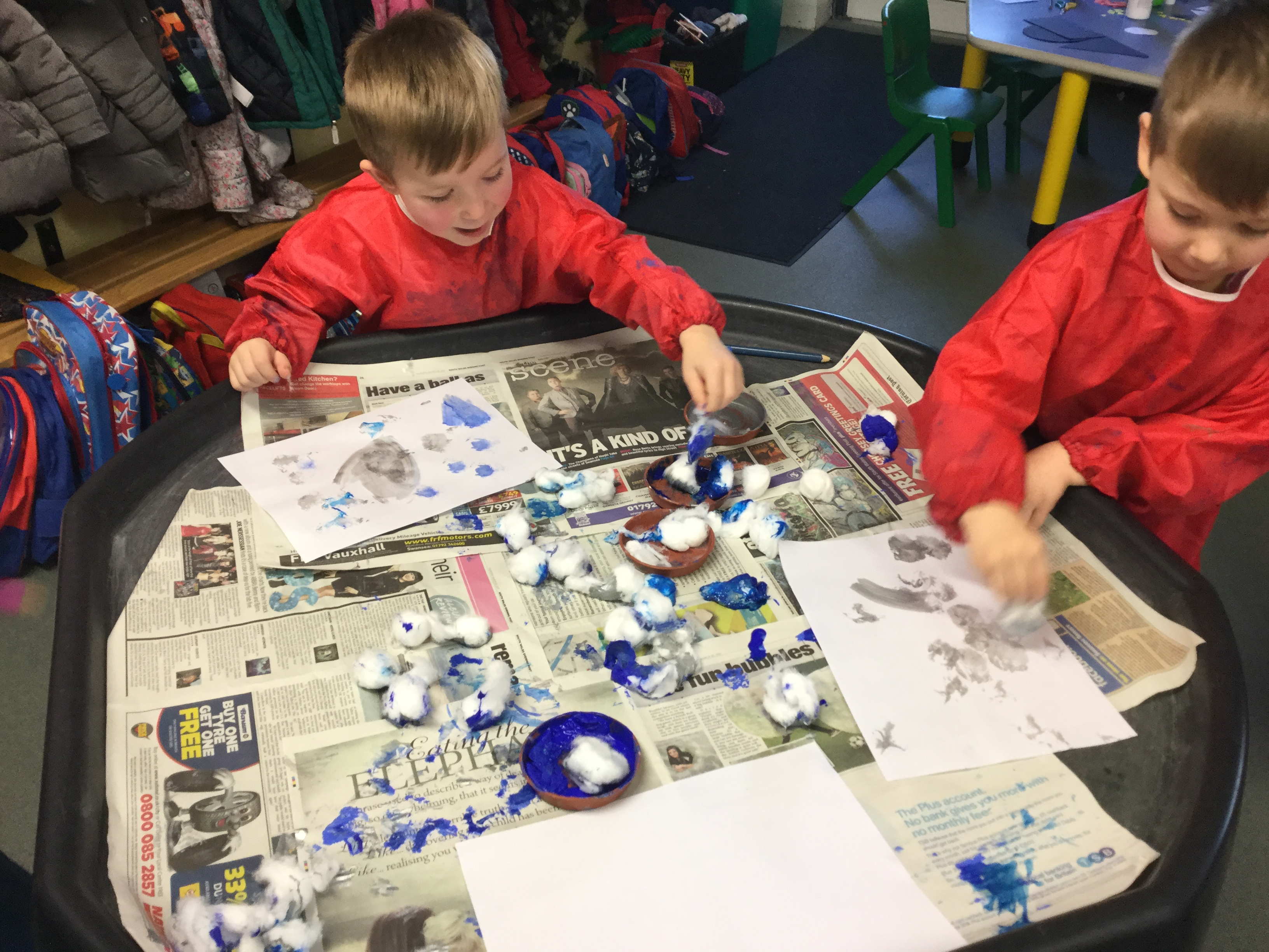 Snowball Painting and Snow Cakes!