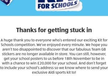 Aldi Kit for Schools.