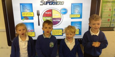 Learning all about Super Healthy Heroes!