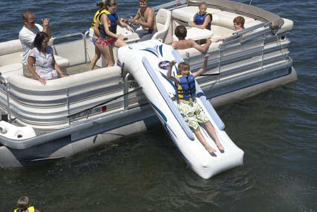 sliding down rave pontoon slide