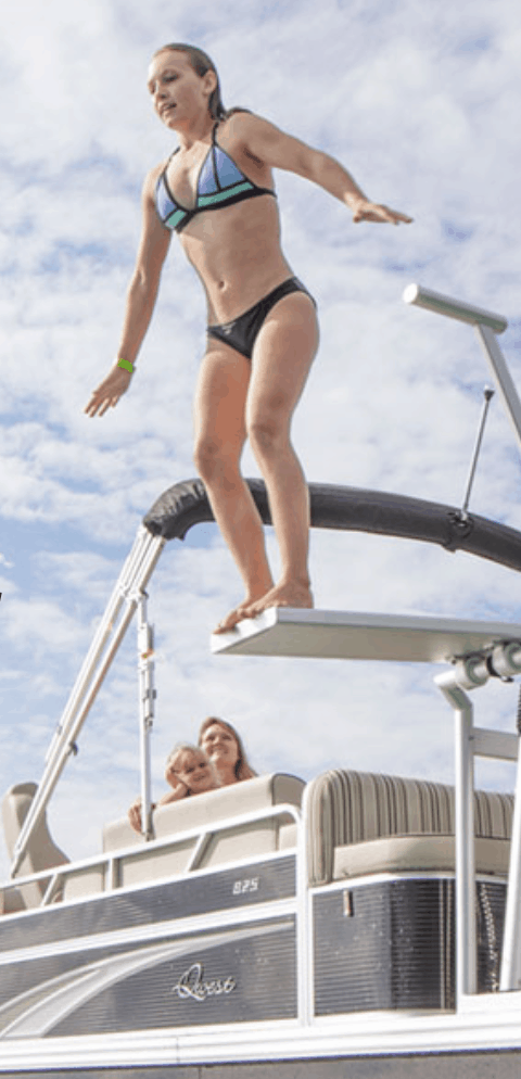 jumping off pontoon diving board