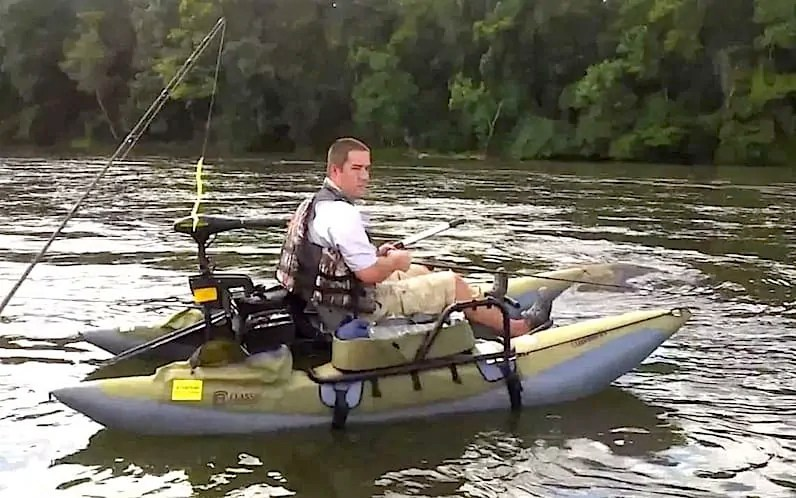 man fishing on one of the best inflatable fishing boats