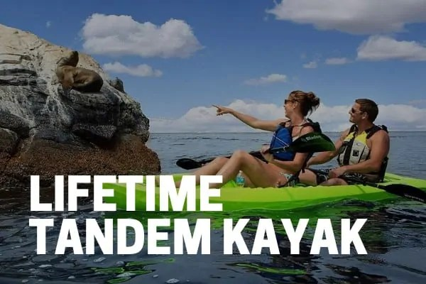 kayakers-using-lifetime-tandem kokanee kayak on lake