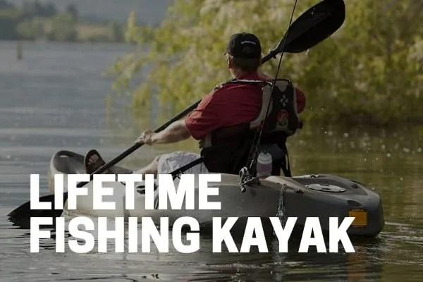 fisherman kayaking on lifetime tamarack fishing kayak