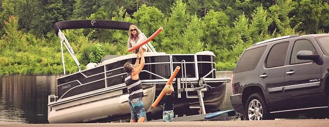 pontoon trailer guide ons loading a boat