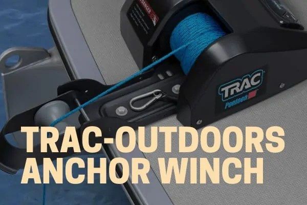 trac outdoors electric anchor winch mounted to a pontoon boat