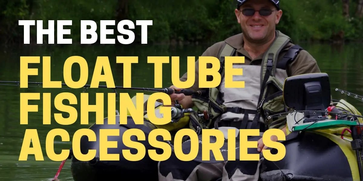 angler using best float tube fishing accessories on lake