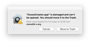 CocosCreator.app is damaged and can't be opened